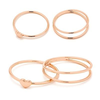 GORJANA 美國品牌 Carina Midi Ring Set 愛心三環戒 玫瑰金