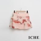 ICHE 衣哲 粉嫩印花蛋糕波浪紡紗造型短裙