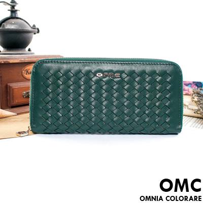 OMC - 韓國專櫃立體編織真皮單拉鍊長夾-藝文綠