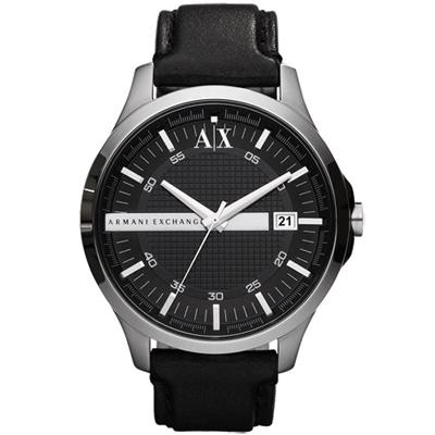 A│X Armani Exchange 城市旅人格紋紳士腕錶-銀黑/皮帶/47mm