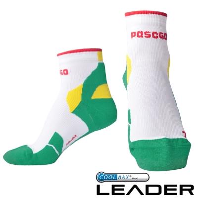 LEADER COOLMAX 女款 透氣中筒 戶外健行 機能運動襪 綠色