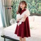 東京著衣 多色氣質女伶小立領傘擺洋裝-S.M(共三色)
