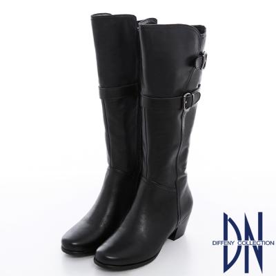 DN 都會時尚 顯瘦牛皮金屬皮帶釦低跟長靴 黑