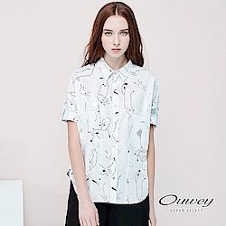 OUWEY歐薇 抽象線條貓燙銀上衣(白)