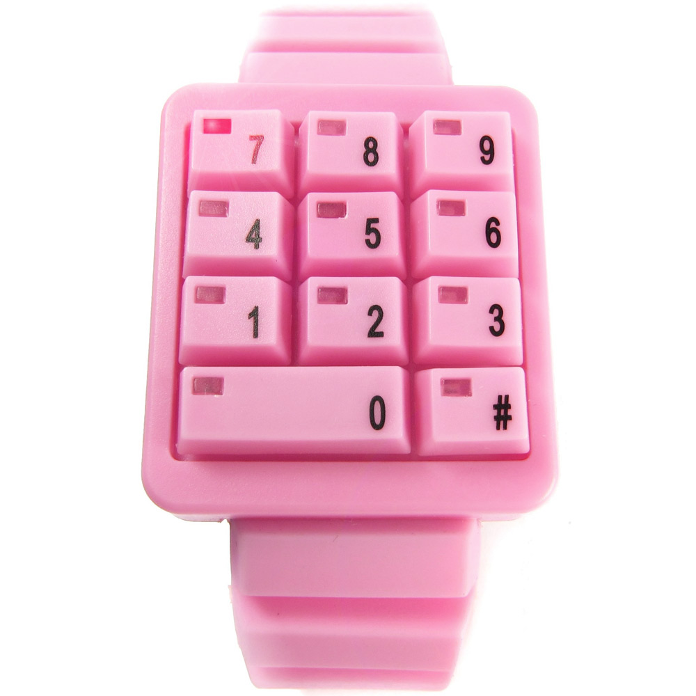 CLICK 創意爆破數字鍵盤個性腕錶-粉紅/40mm