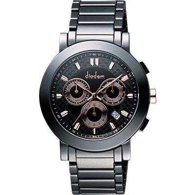 Diadem 黛亞登 都會三眼計時陶瓷腕錶-黑x玫塊金/41mm