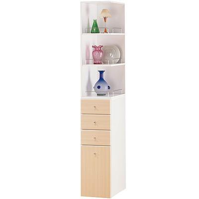米妮Mini 大細縫角落/抽屜收納櫃組-白橡色