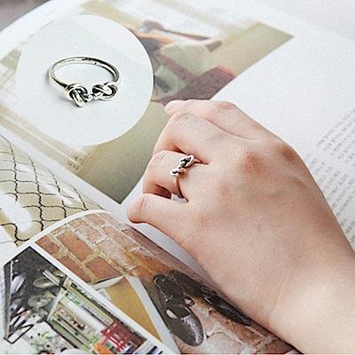 梨花HaNA 韓國復古泰銀打結個性開口戒指中性
