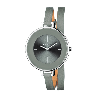 ELIXA Finesse系列銀框 灰錶盤/灰色皮革纏繞式錶帶38mm