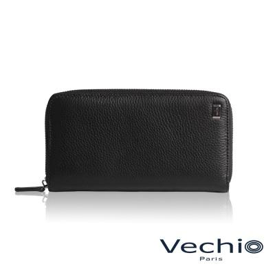 VECHIO - 荔枝壓紋系列8卡拉鍊長夾- 經典黑