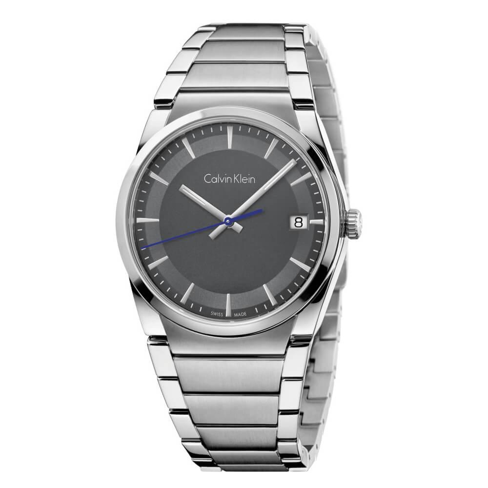 CK CALVIN KLEIN Step 型走系列時尚黑色面盤手錶-38mm