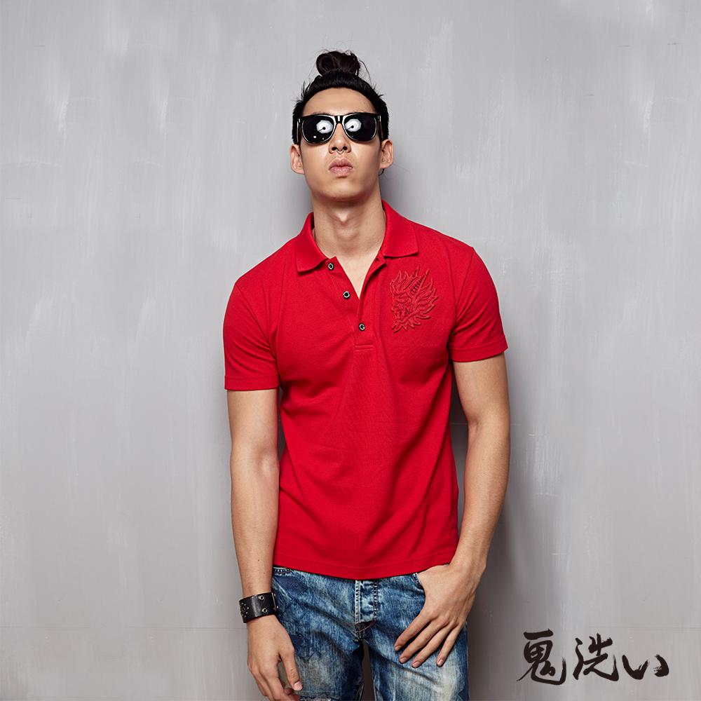 鬼洗 BLUE WAY 鬼頭貼布繡短袖polo衫-紅色