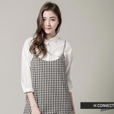 H-CONNECT-韓國品牌-女裝-細肩荷葉格紋洋