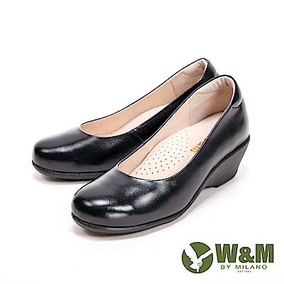 W&M 經典小圓頭楔型高跟鞋 女鞋-黑