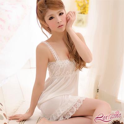 Lorraine 白色戀人!柔緞蕾絲睡襯衣