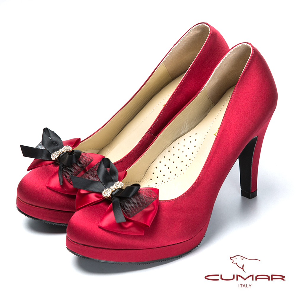 CUMAR時尚派對 水鑽緞帶蝴蝶結厚底高跟鞋-紅色