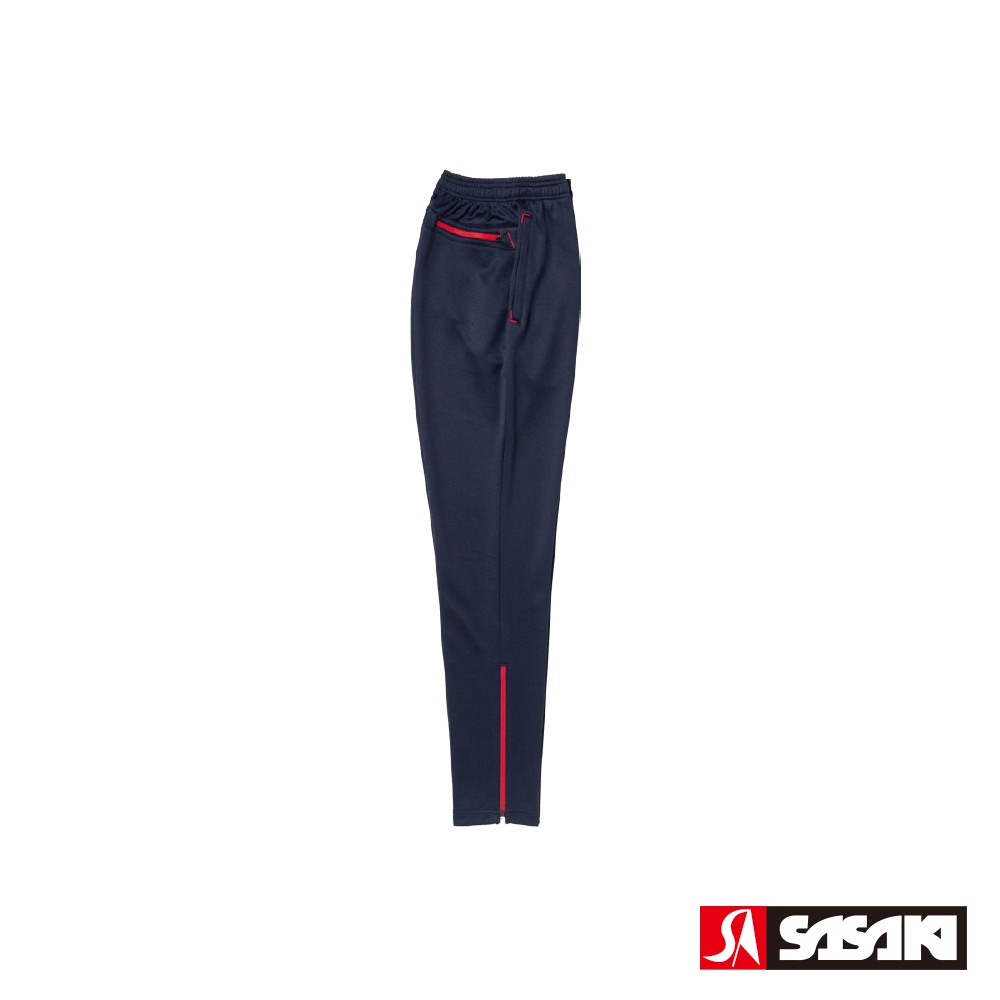 SASAKI 吸濕排汗功能伸縮針織運動長褲(窄褲口)-男-丈青/紅