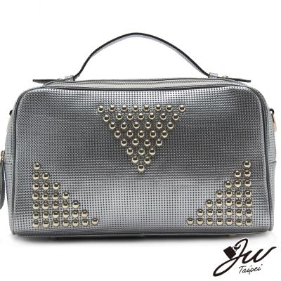JW真皮奢華內斂釘釦設計兩用包-共四色-派對銀