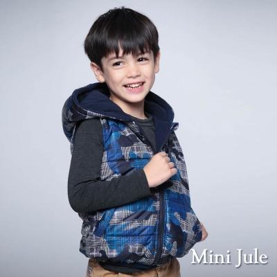Mini Jule 童裝-鋪棉背心 搖粒絨幾何格紋連帽背心(藍)