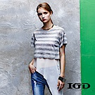 IGD英格麗 不規則下擺兩件式銀蔥條紋上衣