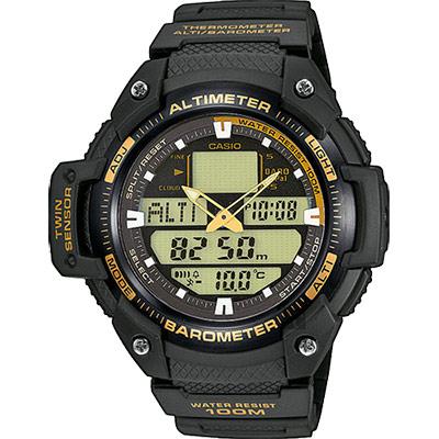 CASIO卡西歐 SPORTS GEAR 戶外運動錶-黑金/51.9mm
