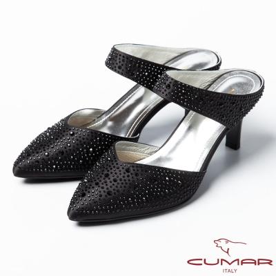 CUMAR復古奢華 鑲鑽扣環式高跟涼鞋-黑