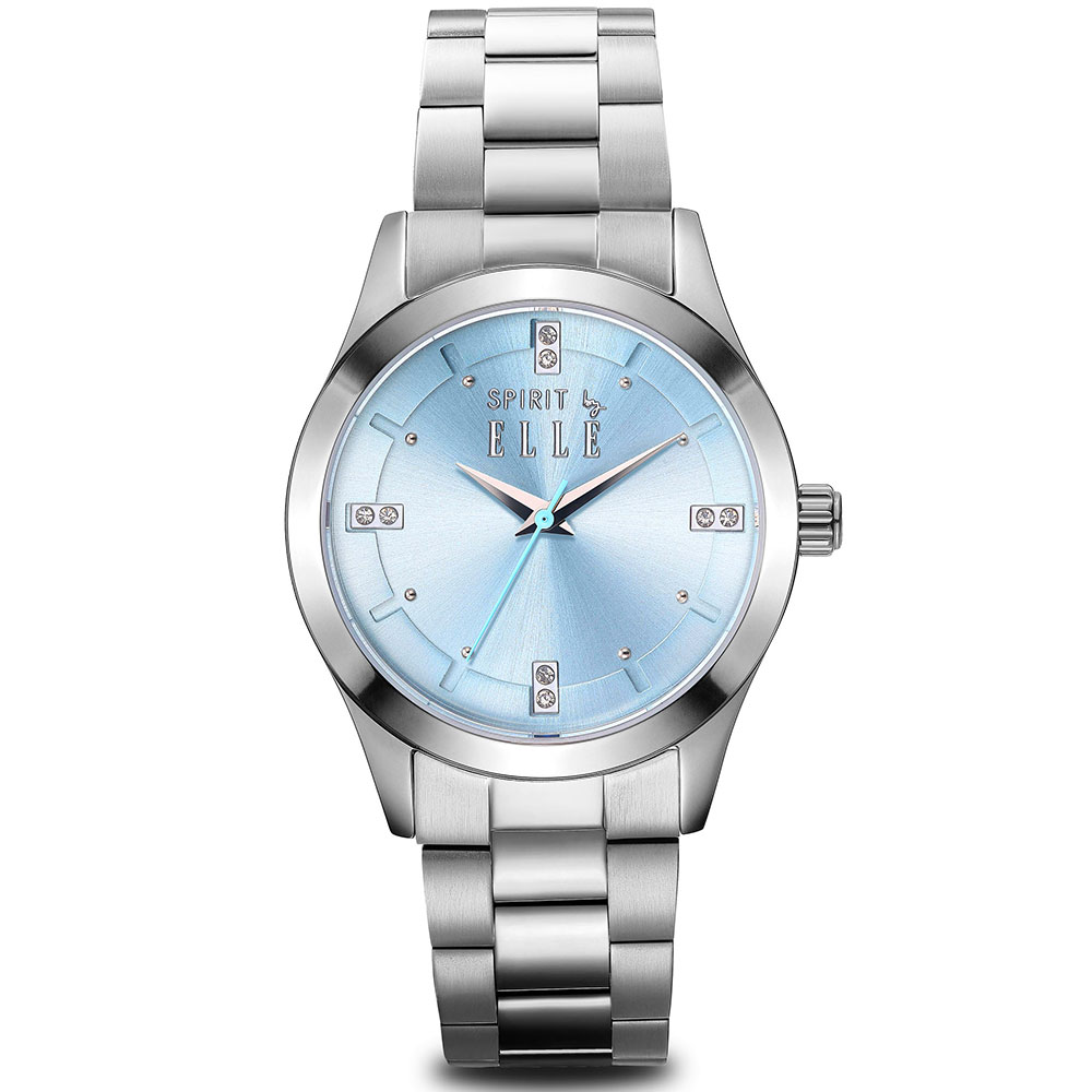 ELLE  晶鑽不鏽鋼時尚尖端腕錶-粉未藍/30mm