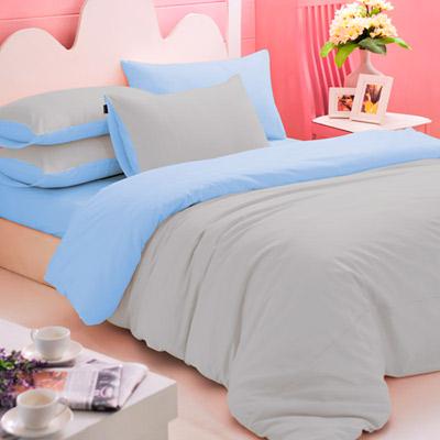 英國Abelia 繽紛混搭 加大四件式天使絨被套床包組-灰*水藍