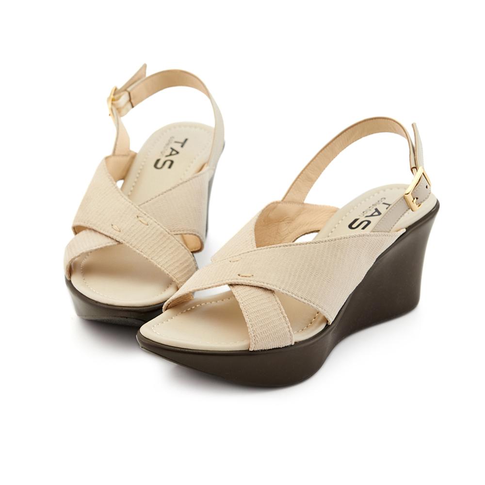 TAS 交叉蜥蜴壓紋羊皮楔型涼鞋-氣質米