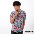 BIG TRAIN 扶桑印花短袖襯衫-男-藍底黃花