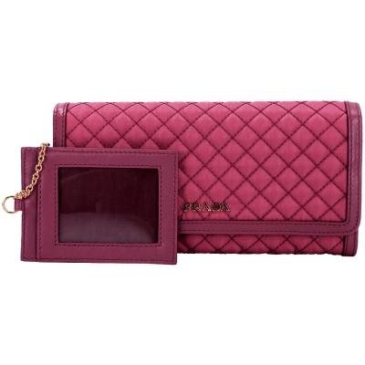 PRADA-TESSUTO-菱格車縫釦式長夾-莓紅