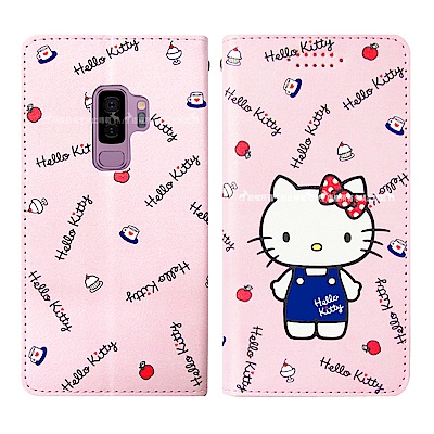 Hello Kitty貓 Samsung Galaxy S9+ 磁力皮套(點心)