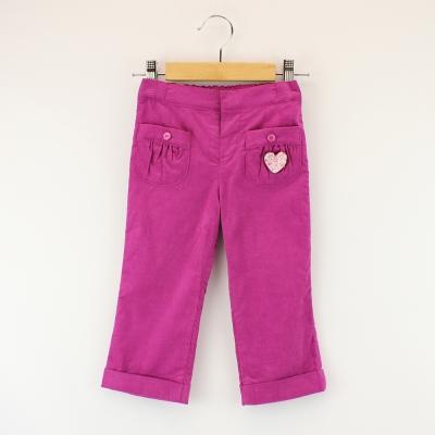 愛的世界 MYBABY 純棉半鬆緊帶褲勾條絨長褲 2~6歲