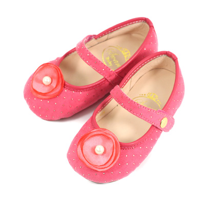Swan天鵝童鞋-花朵金色圓點寶寶學步鞋1559-桃