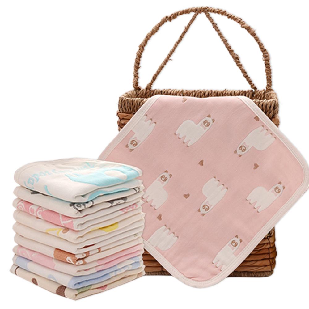 高密度六層紗小方巾卡通口水巾-隨機5入