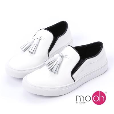 mo.oh -圓頭流蘇鬆緊帶套腳小白鞋休閒鞋-白