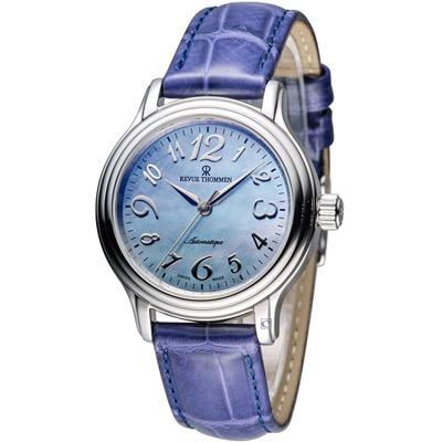 梭曼 Revue Thommen Ladies 優雅自信機械腕錶-藍/34mm