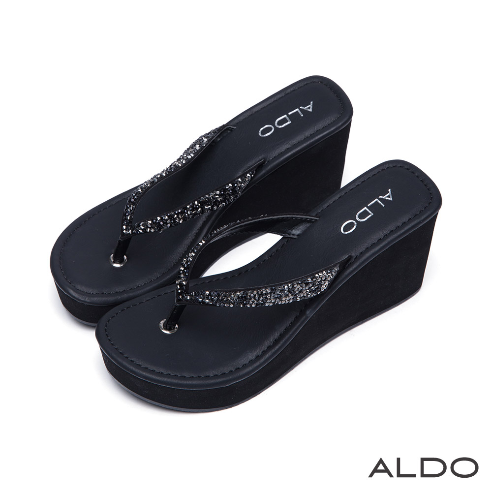 ALDO 奢華寶貝V字彩鑽夾腳船型厚底涼鞋~ 尊爵黑色