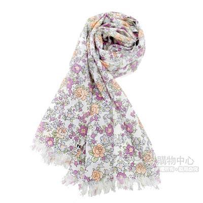 renoma paris 玫瑰花園抗UV透氣薄圍巾-粉紫