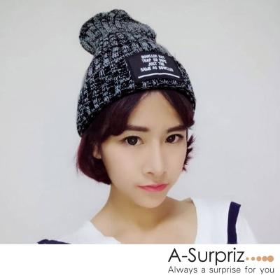 A-Surpriz 大牌徽章混色反摺針織帽(黑)