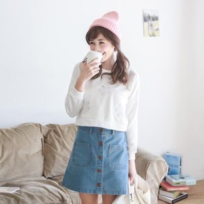 東京著衣 鏤空網格花朵短版上衣-S.M(共二色)