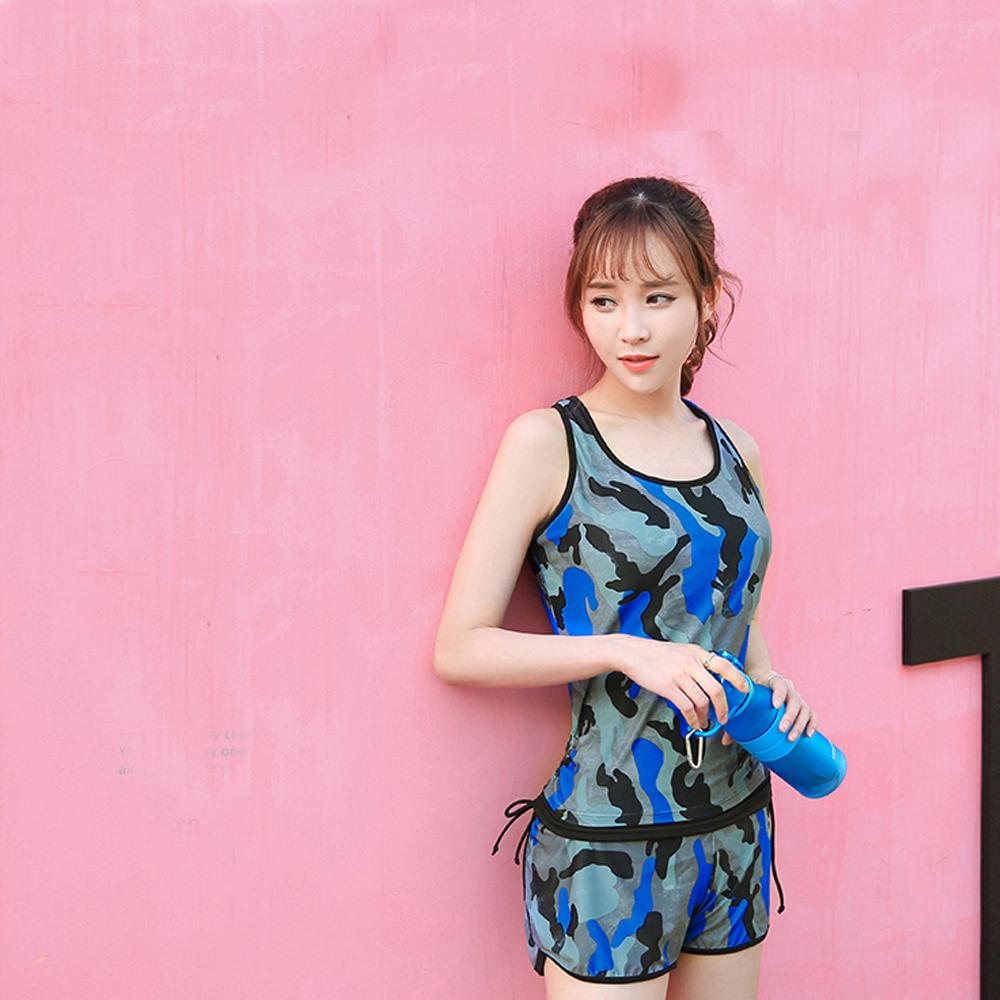 Biki比基尼妮泳衣   迷彩藍運動泳衣加大泳衣(M-3XL)
