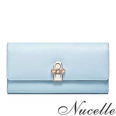 NUCELLE-真皮安吉莉娜轉釦對折長夾-嬰兒藍