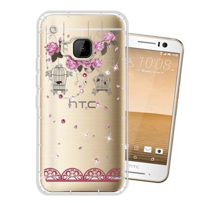WT HTC One S9/M9 奧地利水晶彩繪空壓手機殼(璀璨蕾絲)