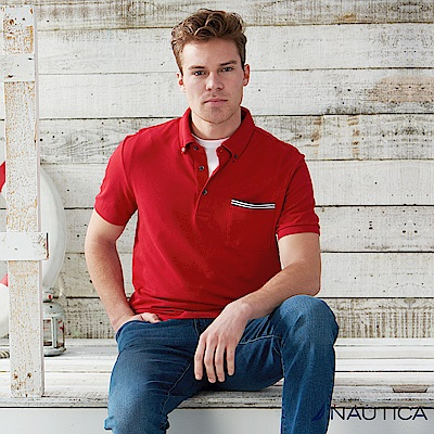 Nautica 簡約休閒短袖POLO衫 -紅