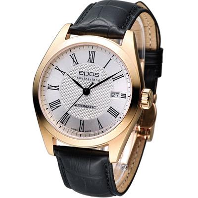 epos Originale 時尚空間紳士機械錶-白x玫塊金框/39mm