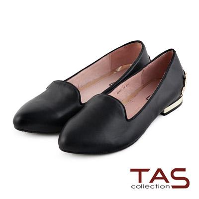 TAS-素面質感金屬圖騰造型後跟樂福鞋-時尚黑