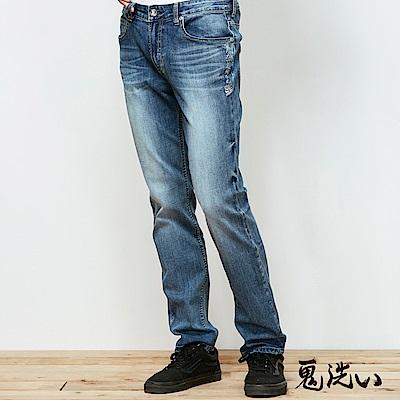 鬼洗 BLUE WAY 瞬移丹寧系列-鬼洗3D彈力瞬移直筒褲-淺藍