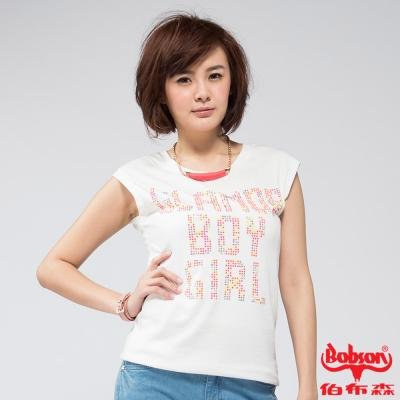 BOBSON 女款燙貼彩色鋁片短袖上衣(白81)