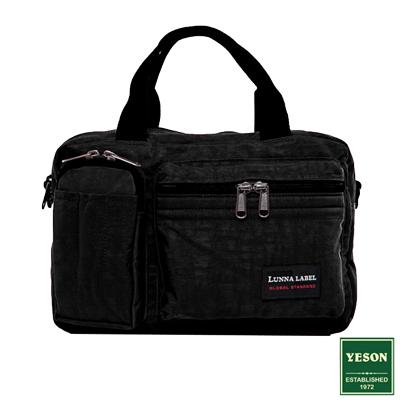 YESON - 商旅輕遊多隔層手提側背包-黑色